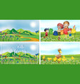 nature scene backgrounds with kids and animals in vector image vector image