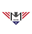 NY initial letters with USA flag colors and symbol vector image