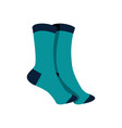 pair of blue socks fashion style item vector image vector image