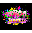 Party Here Colorful invitation background vector image vector image