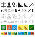 prison and the criminal flat icons in set vector image