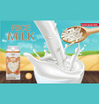 rice milk mock up realistic product vector image vector image