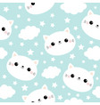 seamless pattern white cat face cloud star in the vector image vector image