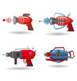 set cartoon retro space blaster ray gun laser vector image vector image