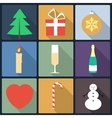 set christmas icons flat icons vector image