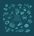 set sea or ocean animals icon vector image