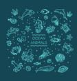 set sea or ocean animals icon vector image vector image