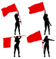 set silhouettes of woman with flags on white vector image vector image