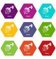 shower icons set 9 vector image vector image