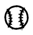 sprayed baseball icon graffiti overspray in black vector image