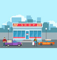 street store building view vector image vector image