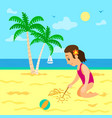 summer vacations girl drawing image on sand vector image vector image