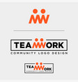 team work typography community human logo vector image vector image