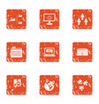 transfer of skill icons set grunge style vector image