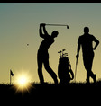 two golfers silhouette playing on the playground vector image