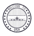 welcome to usa gray round stamp with aircraft vector image