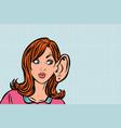 woman eavesdropping gossip secrets and rumors vector image vector image