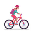 woman on a mountain bicycle vector image vector image