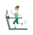 Woman Running On Treadmill Member Of The Fitness vector image vector image