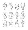 woman silhouette icon set outline style vector image vector image