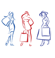woman with shopping bag set vector image