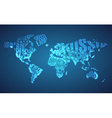 World Map in Typography with City Lights vector image vector image