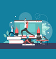 yoga in office flat style design vector image vector image
