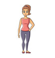 young girl in fitness sportswear isolated vector image
