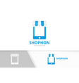 store and phone logo combination market vector image