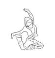Hip-hop woman dancer contour vector image