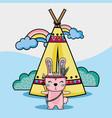 rabbit tribal animal with camp and rainbow vector image