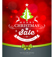 Merry Christmas green tree sale white lettering vector image