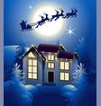 santa claus in sleigh reindeer silhouette in vector image