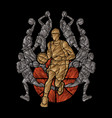 basketball team player dunking dripping ball vector image