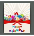 Birthday card with balloons and gift box vector image