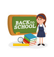 blackboard and student girl wearing uniform and vector image vector image