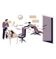 boss sacking office worker jobless character vector image