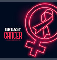 breast cancer awareness month poster in neon style vector image