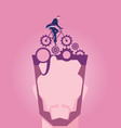 businessman riding a bike with gears on head vector image