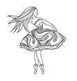 card dancing girl in a dress Anti-paint for adults vector image vector image