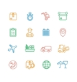Cargo and Shipping Outline Colorful Icons Set vector image vector image
