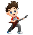 cartoon boy playing electric guitar vector image vector image