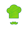 chef hat and moustache sign lemon vector image vector image
