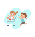 children ride in grocery cart happy brother and vector image vector image