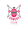 comedy club logo with retro microphone vector image