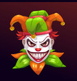 crazy creepy joker face vector image vector image