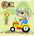 cute farmer cartoon ride a tractor vector image