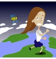 Cute girl running away from bee vector image