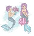 cute mermaid cartoon travel tropical vector image