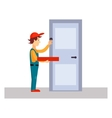 Delivery Man Knocking at Door vector image